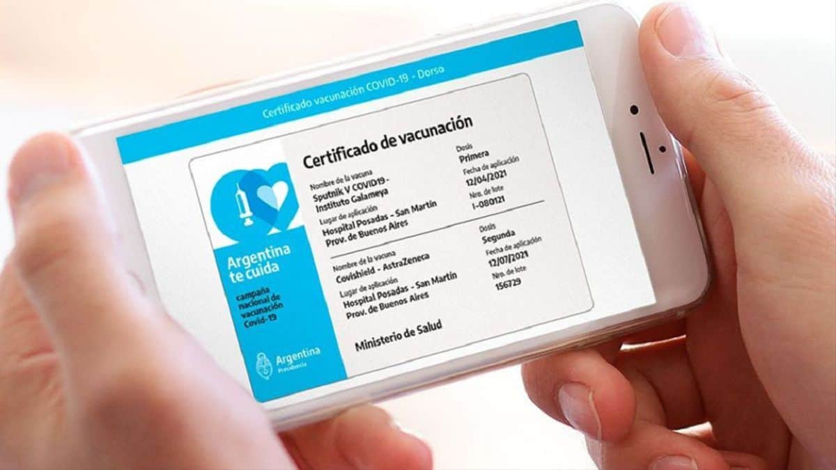 El certificado de vacunación se cargará en el celular